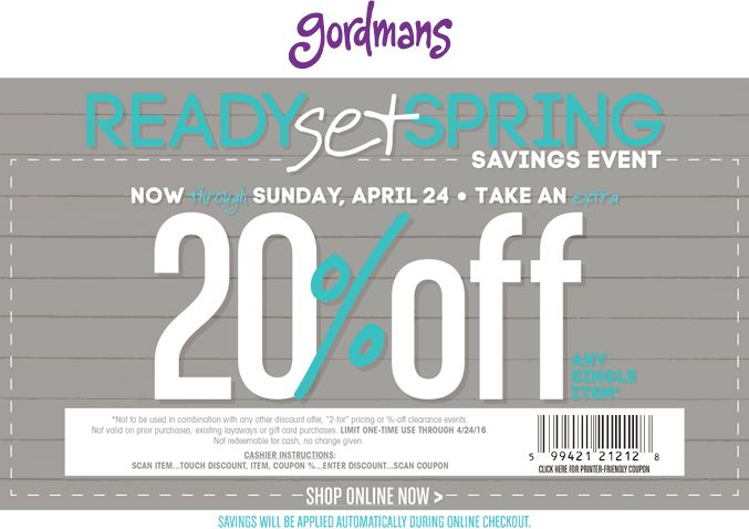 graphic about Gordmans Printable Coupon known as Gordmans printable coupon 20 off : Common studios