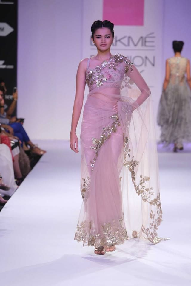 Sheer pink Indian bridal sari by Anushree Reddy at Lakme Fashion Week Winter 2014