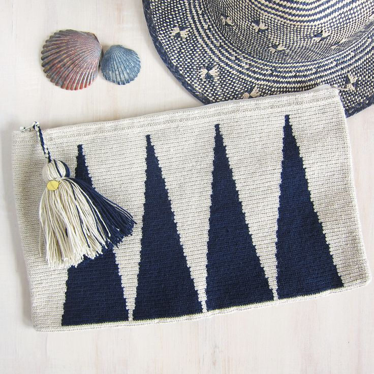 Wayuu wool clutch with generous wool tassel and zip closure. The dense single-thread hand-crocheted construction makes these useful pouches both sturdy and very durable. #GoodsForDailyLiving #TSKNY
