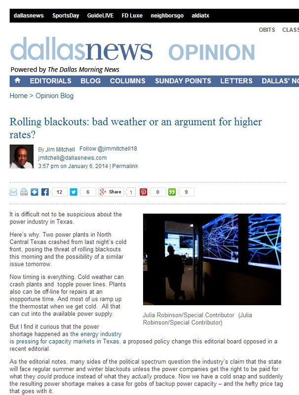 """Dallas Morning News opinion article titled """"Rolling blackouts: bad weather or an argument for higher rates?"""" about one Dallas residents thoughts about the threat of rolling blackouts during the cold snap of early 2014. Very interesting read. DONT RELY ON THE MAIN POWER GRID! 214-202-7474 We do FREE ESTIMATES on backup home generator installations in Dallas / Collin and Rockwall Counties of North Texas! http://www.dallaslandscapelighting.net"""
