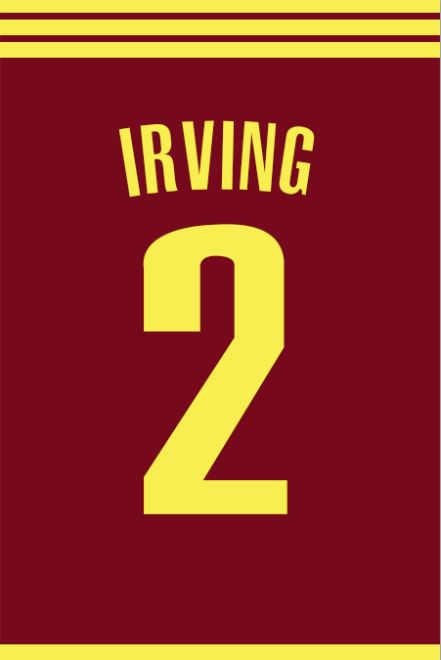 Kyrie Irving Number 2 Cleveland Cavaliers Jersey Art Print | Mancave Wall Art | NBA Memorabilia | Perfect Gift for Basketball Fan