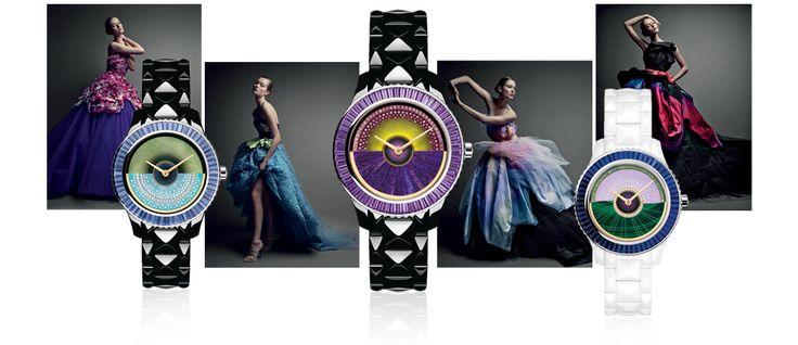 Présentées à la foire de Bâle en mars dernier, les nouvelles montres Dior VIII Grand Bal Haute Couture s'inspirent de la palette de couleurs vives et irisées des robes de la c