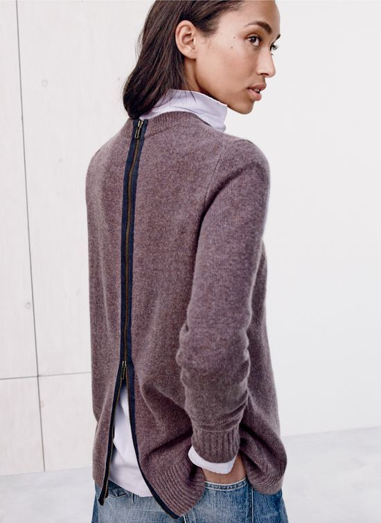J.Crew women's Collection cashmere zip-back tunic. To preorder call 800 261 7422 or email erica@jcrew.com.