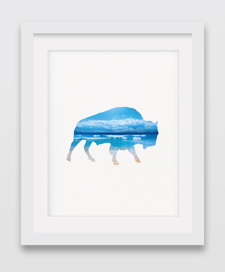 A personal favorite from my Etsy shop https://www.etsy.com/listing/248566032/beach-decor-buffalo-print-blue-prints