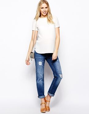 Enlarge ASOS Maternity Boyfriend Jean with Distressed Rips and Over the Bump Waistband