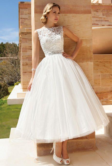 Tea-Length Beauties for Older, More Sophisticated Brides. #weddings #dresses #tealength