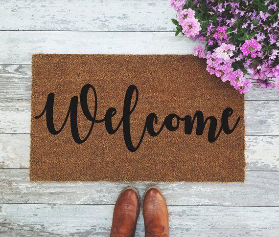Welcome Doormat Handpainted Door Mat Quote Unique Cute Home Etsy Door Mat Personalized Door Mats Cute Door Mats