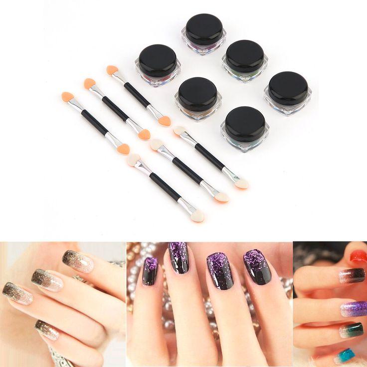 100% Gloednieuwe DIY Nail Glitter Poeder Spiegel Glitter Poeder Voor Nagels Stralende Professionele Nail Beauty Makeup Tools 6 Kleuren