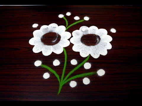 simple flower rangoli techniques using ponds bottle || creative kolam designs - YouTube