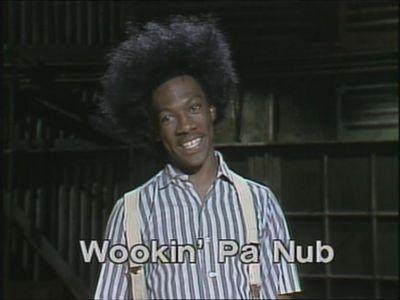 Eddie Murphy as Buckwheat advertising his album, 'Buh-Weet Sings' (1981)