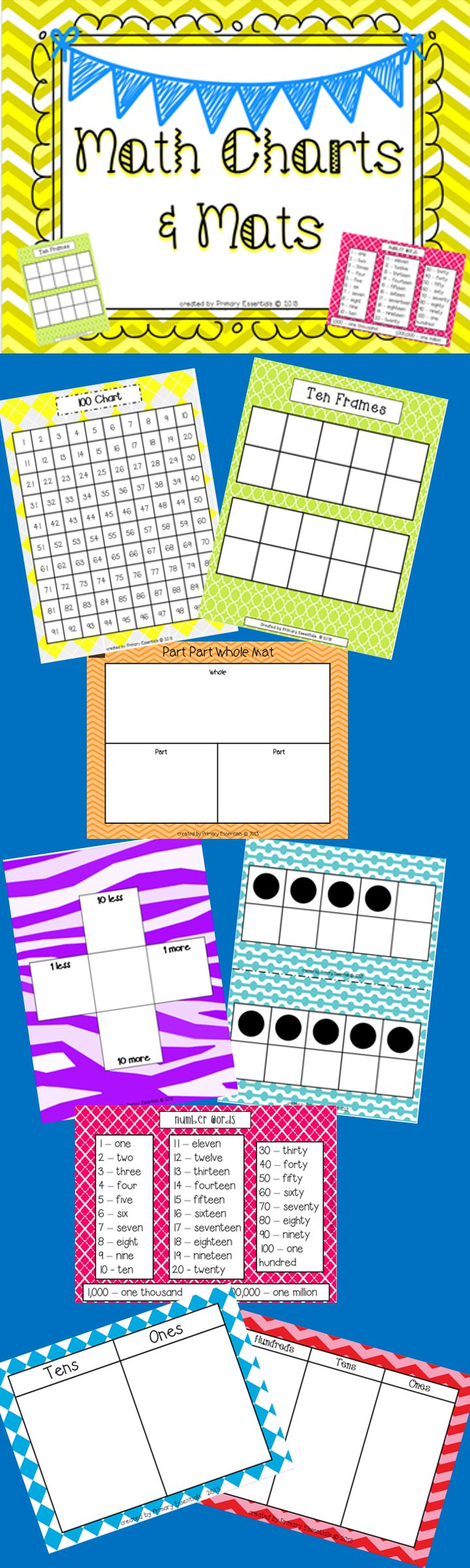 Math Charts and Mats: 100 Chart 120 Chart Tens & Ones Mat Hundreds, Tens, & Ones Mat Part Part Whole Mat Number Word Chart More & Less Mat Ten Frames Mat Large Ten Frames Flashcards