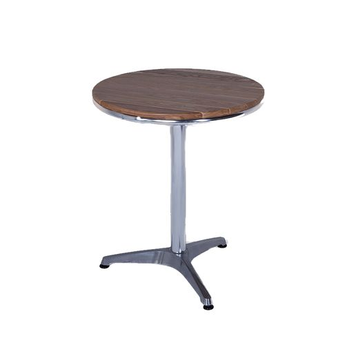 A Sturdy Aluminium Round Table With A Long Lasting Ash Table Top. For  Indoor And