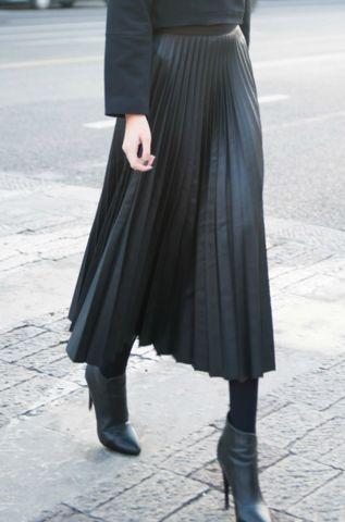 Leather-look Pleated Midi Skirt