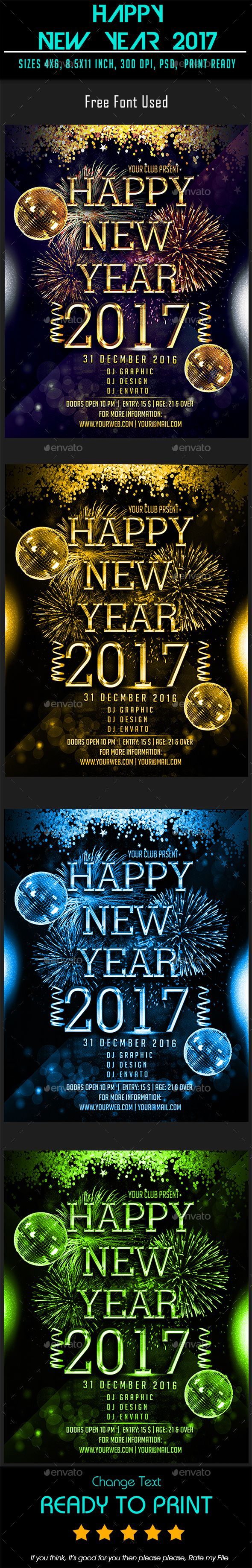 Happy New Year 2017 — Photoshop PSD #birthday #eve • Available here → https://graphicriver.net/item/happy-new-year-2017/19173231?ref=pxcr