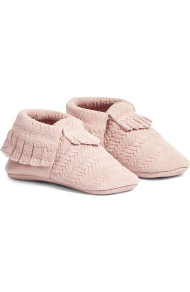 "Adorable Freshly Picked ""cardigan"" pink moccasins on the Nordstrom Anniversary Sale! Such a sweet baby shower gift or a special pair of shoes for a baby girl."