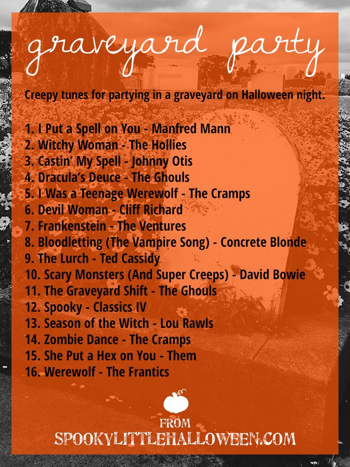 Halloween Mixtape: Graveyard Party - The perfect soundtrack for a spooky graveyard party! From Halloween classics to my favorite hidden gems, this Halloween playlist has something for everyone. | spookylittlehalloween.com