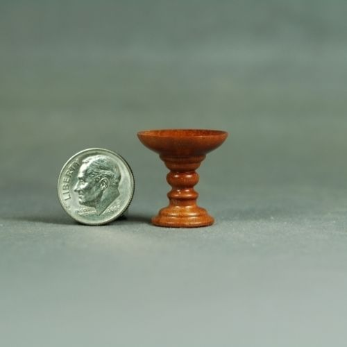 Dollhouse-Miniature-Wood-turning-Brazillian-Cherry-Pedestal-Bowl-IGMA-Artisan