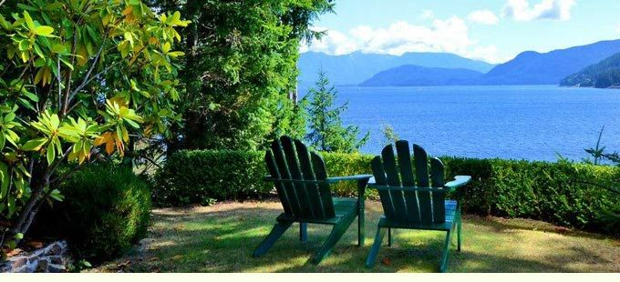 Romantic Oceanfront Accommodations at Soames Point Bed and Breakfast. Gibsons B&B with private decks, cozy fireplace, and wooded oceanfront acreage