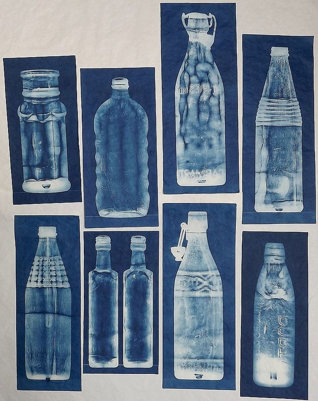 Lynnette Miller, Cyanotypes of bottles found in the garden.