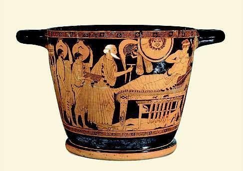 De Trojaanse koning Priamos smeekt Achilles om het lijk van zijn zoon Hektor, Attische roodfigurige skyphos uit Cerveteri, c. 490 v.C. (Kunsthistorisches Museum, Wenen). www.facebook.com/patrick.lateur.