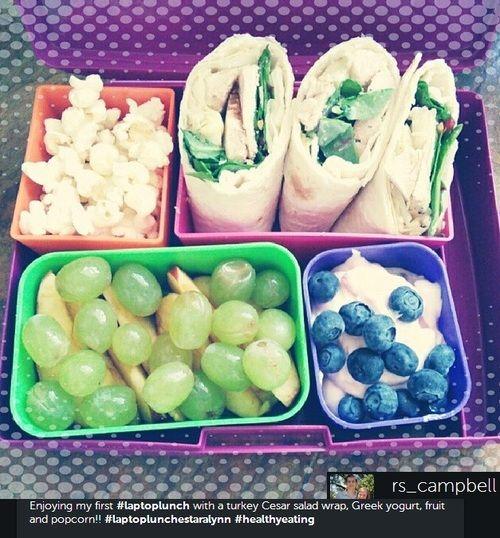 turkey Caesar salad wrap, Greek yogurt, fruit, and popcorn – Simply Taralynn