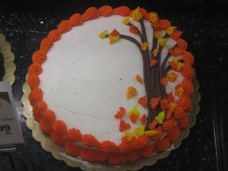 Simple autumn leaves cake single layer cake decorating for Autumn cake decoration