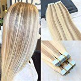 "HairDancing 22"" Tape in Hair Extensions Human Hair Ombre Extensions Piano Balayage Tape Extensions Dip Dye Real Hair Extensions Color #14 Fading to #613 Bleach Blonde 50g 20 Pcs Per Package"