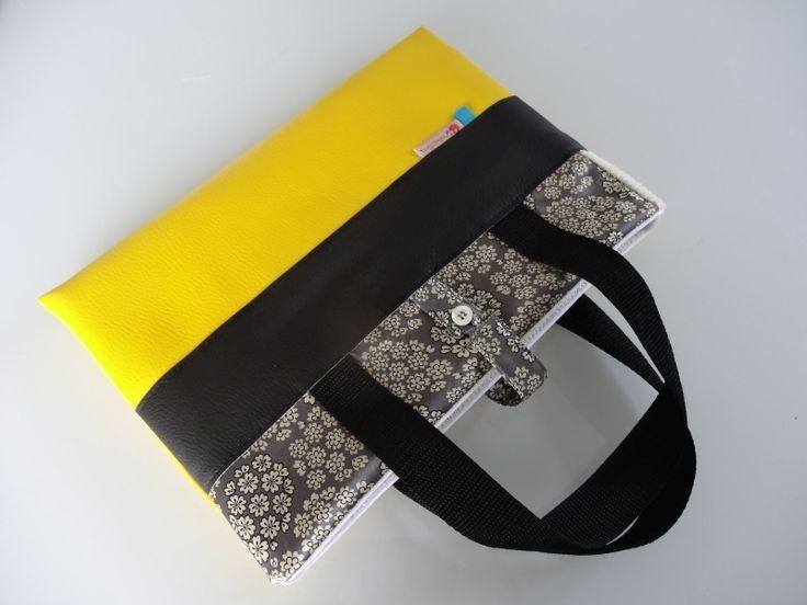 Sac housse molletonnée pour tablette ou ordinateur - Tons jaune et gris