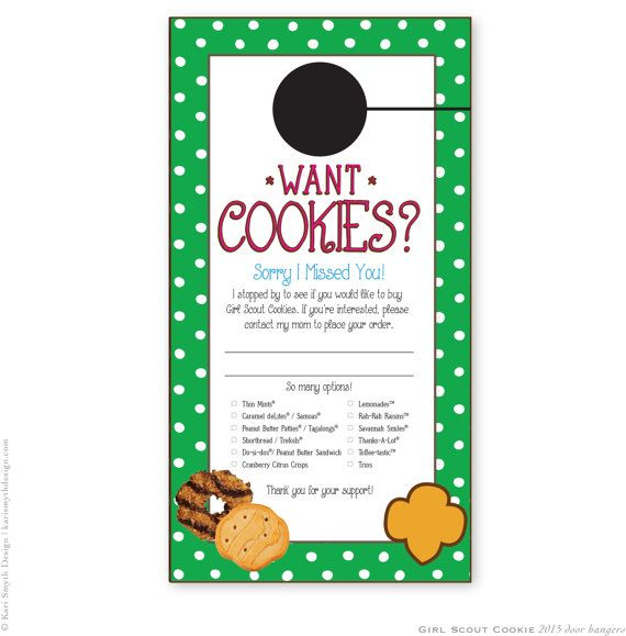 Girl Scout Cookie Sales Door Tag by KariSmythDesign. Downloadable and Printable. Polka Dot Print. For Brownies and Daisies too!