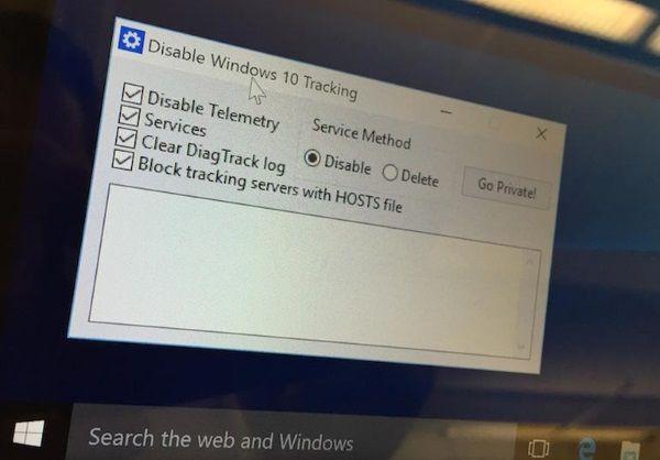 """Sobrement baptisée """"Disable Windows 10 Tracking"""", cette application légère disponible sur GitHub permet de museler l'OS en quelques clics. https://github.com/10se1ucgo/DisableWinTracking/releases/tag/v2.5.1"""