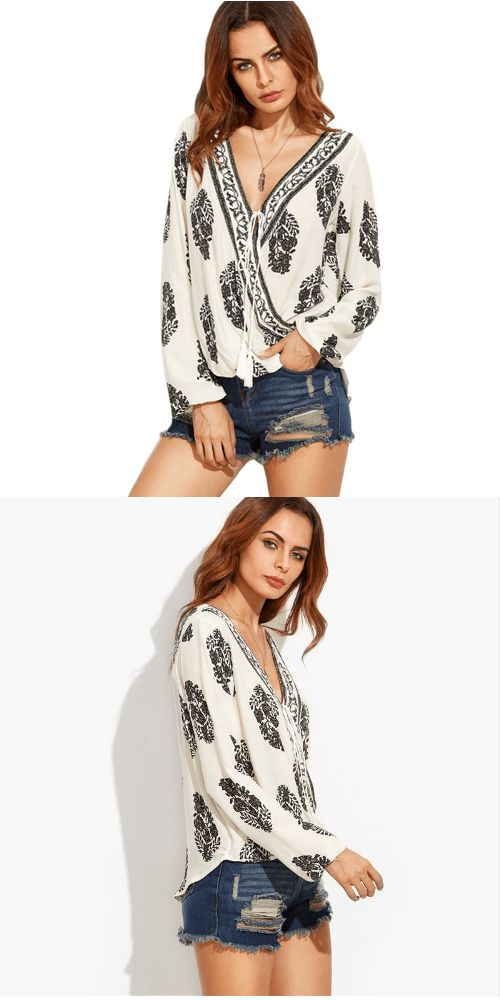 Wrap Front Top V-Neck Long Sleeve Blouse: Add elegance to your relaxed wear with this high low hem, flattering crossover front blouse. Pair it with your favorite jeans or shorts.