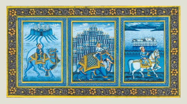 Rajasthan 3 cities symbol  This miniature painting on silk depicts three symbols of Rajasthan. Elephant, a symbol of Jaipur stands for peace. Camel of Jaiselmer is symbolic of love and Horse of Mewar is symbolic of power. Natural blue color pigment of Lapis Lazuli has been used here. Done on a fine silk base, the painting proudly represents the miniature painting tradition of Mewar.  Dimensions - 6.5X3.5 inches Painting on silk  Contact KalaCafe to buy