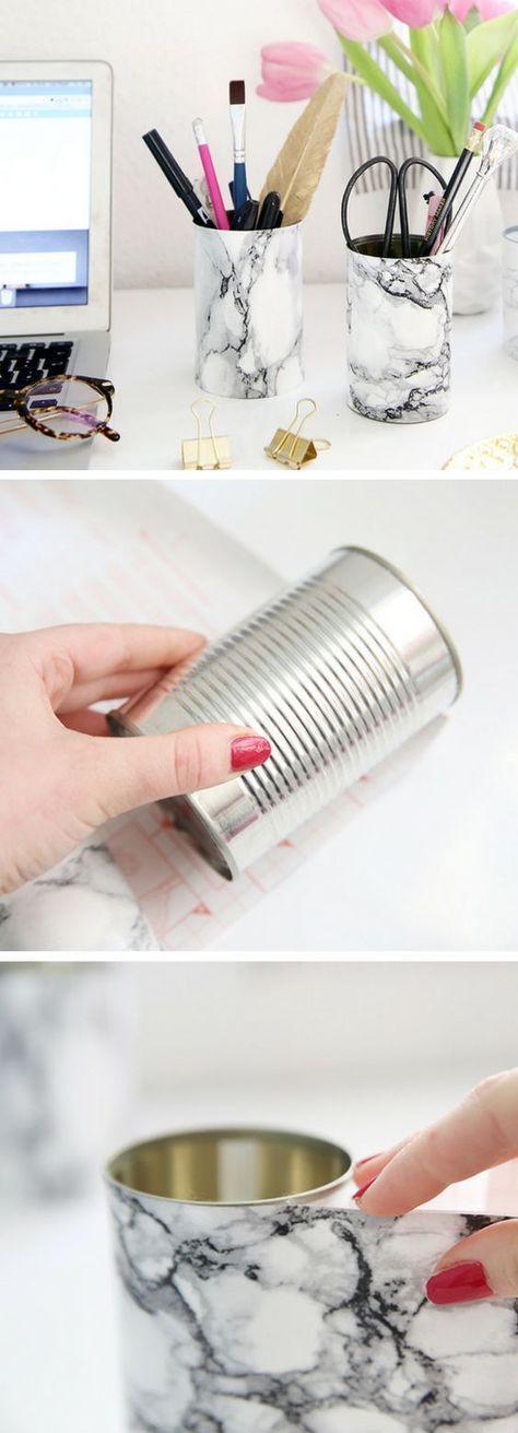 Artesanato com reciclagem de latas que se pode fazer para reciclar de forma criativa. #HandmadeHomeDécor