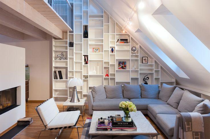Uitwerking van een boekenkast op maat met loopbrug : Marie en Karel wonen in een…