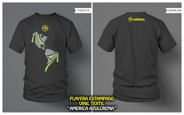 "PLAYERA ""AMERICA AZULCREMA"" ESTAMPADO VINIL TEXTIL • FRENTE Y VUELTA • Club América"