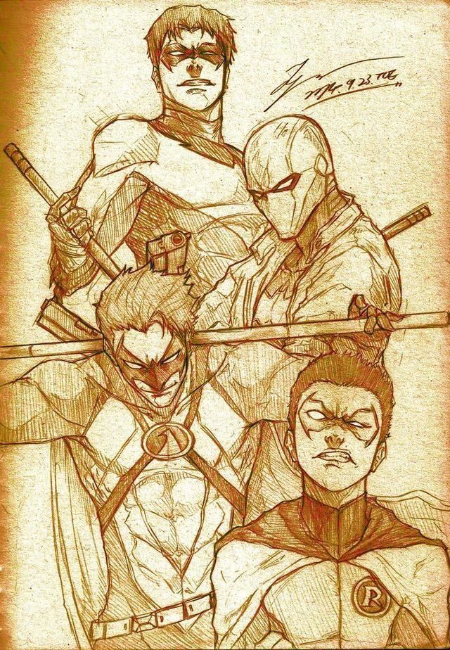Nightwing, Red Hood, Red Robin and Robin