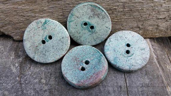 4 Ceramic Oval Button1 3/8  35mm  round button raku