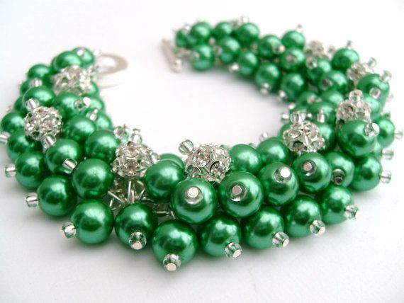 Bridal Jewelry, Wedding, Pearl Bridesmaid Bracelet, Pearl and Rhinestone Bracelet, Cluster Bracelet, Pearl Bracelet, Kelly Green Jewelry