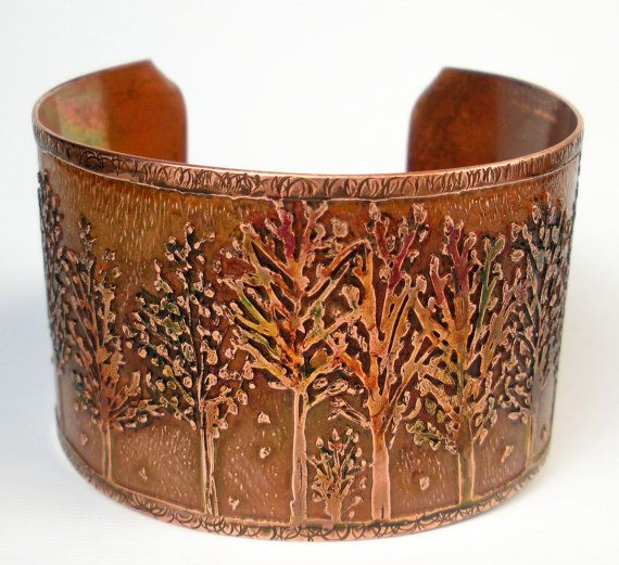 Etched Copper Bracelet, Rustic Copper Cuff, Womens Jewelry, Hand-Drawn Etched Design, Metalwork, Hammered. Aspens, Heat Patina- Color Change...
