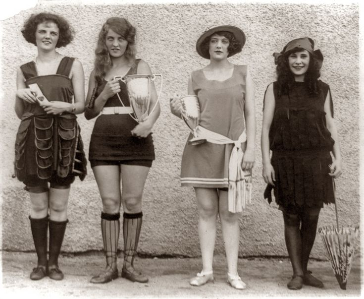 Four prize winners in the 1922 beauty show at Washington Bathing Beach, Washington, D.C. Left to right: Gay Gatley, Eva Fridell, Anna Neibel, Iola Swinnerton.