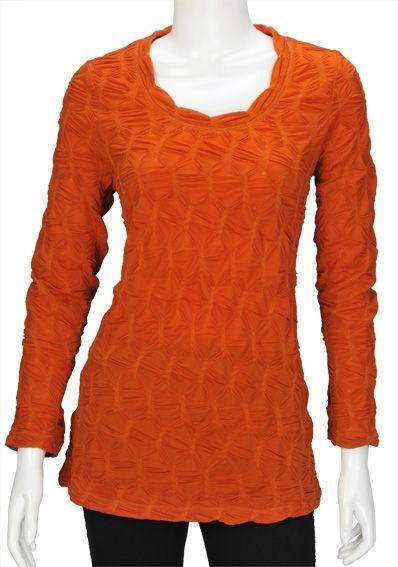 Orange Honeycomb Top ~ Best selection of Tunics & matching accessories ~ Flat postage worldwide ~ Petite to Plus sizes ~ www.ilovetunics.com