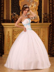 Customized Beaded Satin Organza White Quinces Dresses in The Mainstream