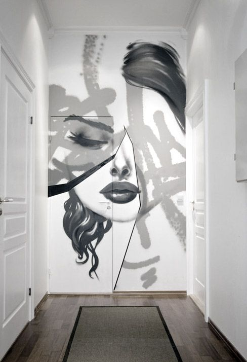 Totally Into This Feature Wall (with Included Door!) By Sprayboks Design    Like This Hallway?