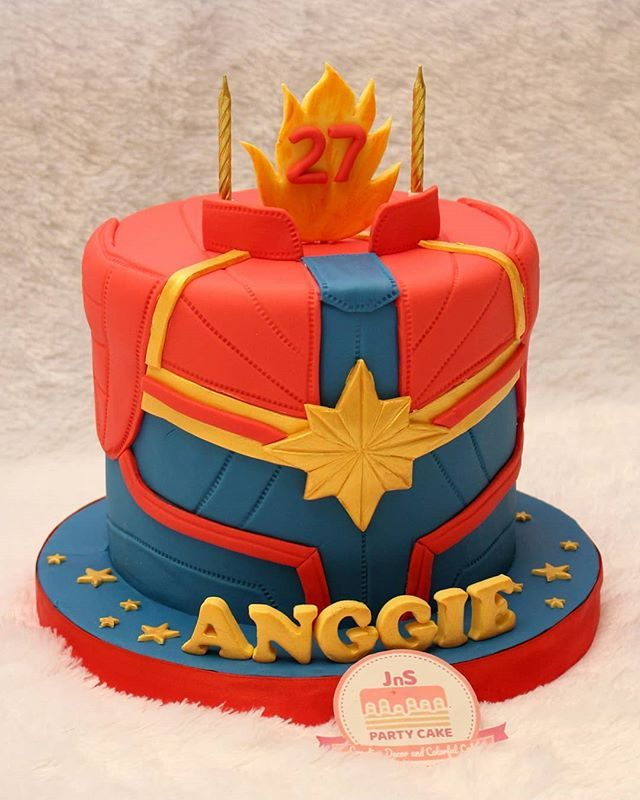Captain Marvel Cake With Images Avengers Birthday Party Food