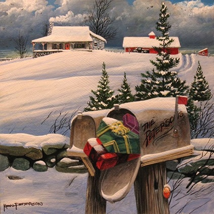 Country Christmas painting