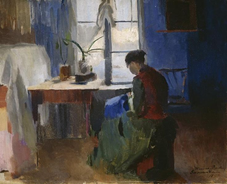 Woman Sewing by Harriet Backer