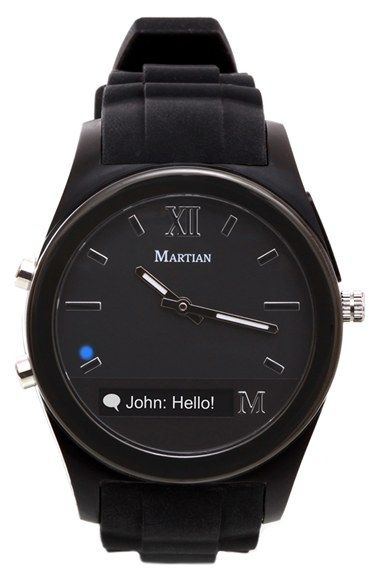 Martian Watches 'Notifier' Round Silicone Bracelet Smart Watch