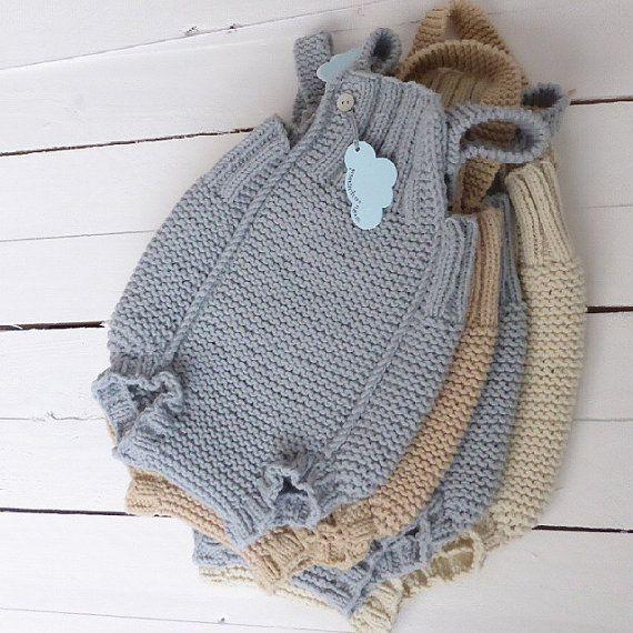 Macacão em trico para bebé algodão macio by pontinhosmeus on Etsy