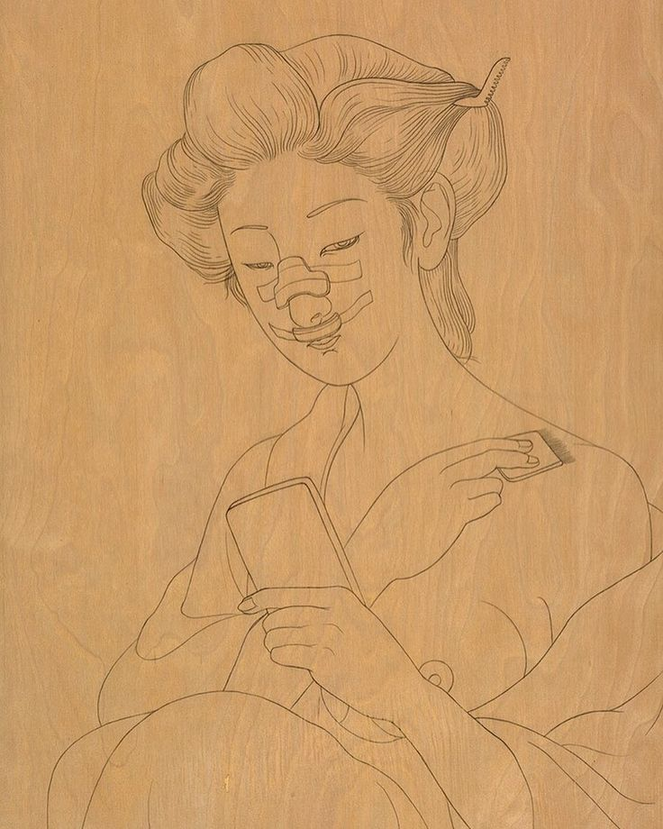 """Phung Huynh """"Woodblock Drawing (Nose Job)"""" 2016 graphite on wood 24"""" x 18"""" part of her solo exhibition """"Pretty Hurts"""" on view through May 27. . On SUNDAY MAY 21 2017 in conjunction with the current exhibition """"Pretty Hurts"""" that features new works by artist Phung Huynh CB1 Gallery will host a panel discussion about uncovering the complicated issues related to Asian female bodies and plastic surgery. The panel will present probing conversations about body image patriarchy colonialism popular…"""