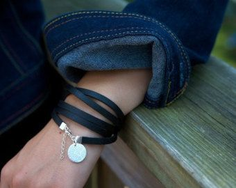Leather Wrap Bracelet with Silver Charm Personalized Initial Stamped or Not Gift for Her Girlfriend Mother Yoga Teacher Zen Bracelet